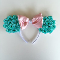 Floral Mickey Mouse Ears Headband (Turquoise Roses)