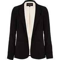 Black panelled smart unfastened blazer - blazers  - coats / jackets - women