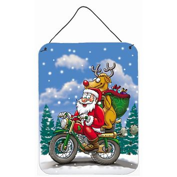 Christmas Santa Claus on a Motorcycle Wall or Door Hanging Prints APH8996DS1216