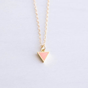 Tiny Peach Triangle Necklace . gold filled chain . minimal everyday jewelry