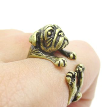 Adorable Pug Puppy Dog Shaped Animal Wrap Around Ring in Brass | Sizes 6 to 9