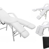 "75"" Portable Tattoo Parlor Spa Salon Facial Bed Beauty Massage Table Chair White"