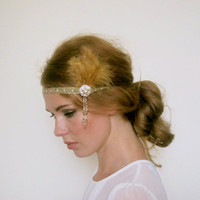 Gold 1920s Great Gatsby Headband with Light Brown by MSaHeadbands