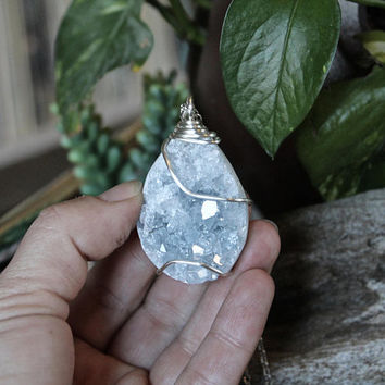 LARGE Celestite Necklace, Geode Necklace, Blue Stone Jewelry, Crystal Necklace, Crystalized Quartz Pendant, Wire Wrapped Gemstone Jewelry