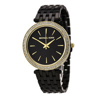 Michael Kors MK3322 Women's Darci Pave Crystal Gold Tone Bezel Black Dial Black IP Steel Bracelet Watch
