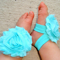 Aqua Blue Baby Barefoot Sandals - Baby Girl Accessories - Piggy Petals - Toe Blooms - Flower Sandals - Baby Shower Gift - Baby Girl Shoe