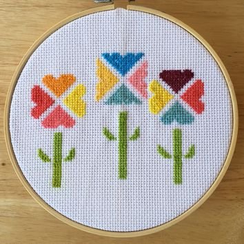 Modern Geometric Flower Cross Stitch Pattern