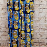 Homer Simpson pajama pants fleece mens medium blue new loungs R2