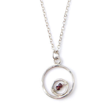 Small Double Circle Necklace with your choice of Gemstones