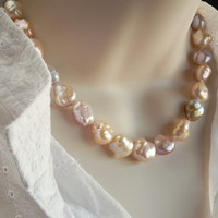 """Baroque Pearls - Large Multicolor Pearl Necklace - Sterling Silver Artisan Clasp – 18"""""""
