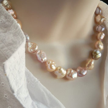 Baroque Pearls - Large Multicolor Pearl Necklace - Sterling Silver Artisan Clasp – 18""