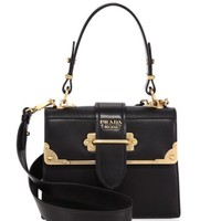 Prada - Cahier Studded Saffiano & Leather Shoulder Bag