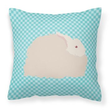 Fluffy Angora Rabbit Blue Check Fabric Decorative Pillow BB8133PW1818