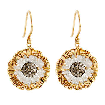 Dana Kellin Fine Jewelry Diamond and Sapphire Flower Drop Earrings