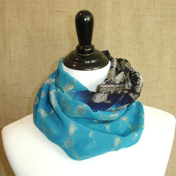 Blue Infinity Scarf: Upcycled Chiffon Circle Scarf, Indian Saree Clover Sari Scarf, Eternity Scarf, Chunky Cowl, Golden Yellow Loop Scarf