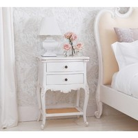Provencal 2-Drawer White Bedside Table | Bedside Table