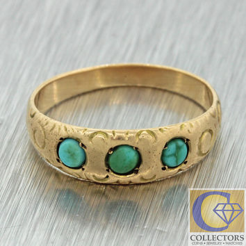 1880s Antique Victorian 14k Solid Yellow Gold Turquoise 4mm Band Baby Ring