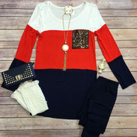 Block of Time Sequin Pocket Tunic: Navy