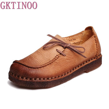 2017 Spring Handmade vintage women's shoes genuine leather female moccasins loafers soft cow muscle outsole casual shoes flats