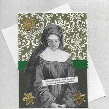 Etsy CIJ Sale Funny Christmas Cards for Naughty Girls - Victorian Vintage Style Collage Art - What Can I Do To Convince Him?