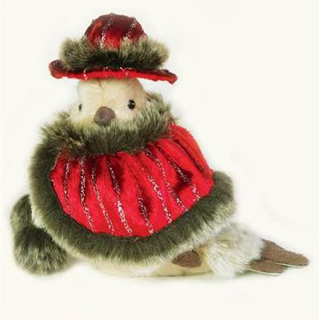Mrs. Dove In Shawl & Hat - Christmas Dove, Stuffed Dove