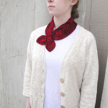 Red Ascot Scarf, Neck Warmer, Summer Office, Knitted, Velvet Chenille, Elegant Refined