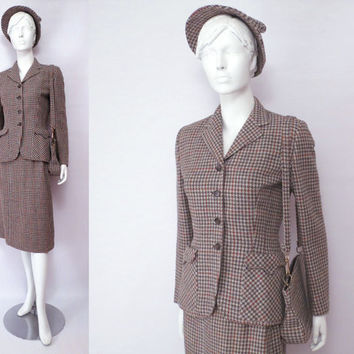 40s Suit Hat Purse by Peck and Peck Rust Brown and Cream Houndstooth Scottish Wool Going Away Ensemble S to M National Recovery Board