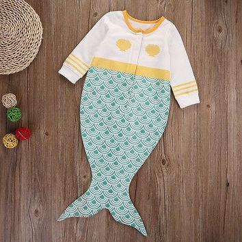 Newborn Kids Baby Boy Girls Infant Mermaid Long Sleeve Romper Jumpsuit Cotton Clothes Outfit 0-18M