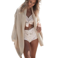 2016 Summer Beach Style Sweaters Thin Sexy Elegant Long Sleeve Hollow Out Holiday Cardigans Open Stitch Girls Jumpers Coats