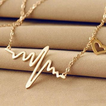 Heartbeat Rhythm with Love Heart Shaped Necklace