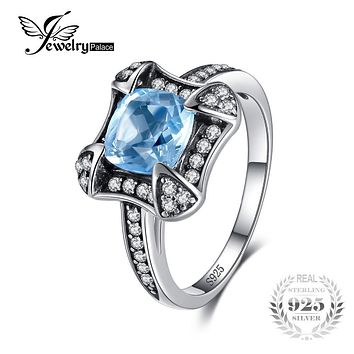 JewelryPalace Vintage 1.8ct Natural Sky Blue Topaz Halo Ring For Woman Genuine 925 Sterling Silver Ring Wedding Fashion Jewelry