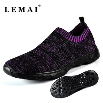 LEMAI Unisex Men and Women Running Shoes Summer Breathable Outdoor Light Water Shoes F