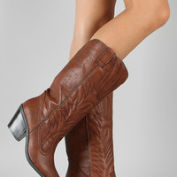 Qupid Muse-64 Western Embroidered Cowboy Knee High Boot