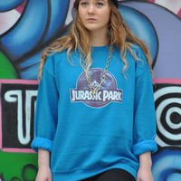 Vintage Retro blue Jurassic Park Galaxy Jumper Sweater 1710 from Gone Retro