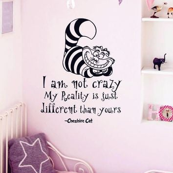 "Alice In Wonderland Wall Sticker Cheshire Cat Quotes ""I Am Not Crazy.."" Vinyl Decals Room Wall Art Decoration DIY Home Decor"
