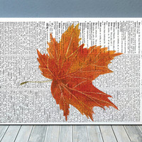 Fall leaf art Dictionary print Autumn print Leaf poster RTA1890