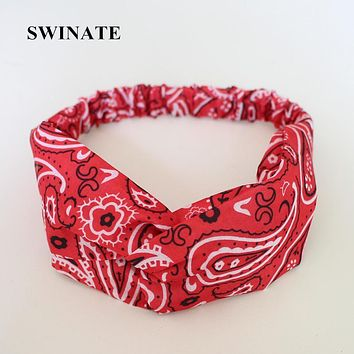 New Women Fashion Paisley Geometric Print Headband Hairband Bandana Stretch Front Cross Headwrap Hair Accessories Bohemian Style