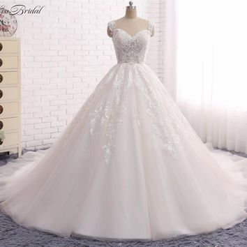 Princess Ball Gown Wedding Dresses Vestido de Noiva 2017 Sweetheart Neckline Lace Appliques Tulle Bridal Gown Robe de Mariee