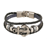 Handmade Retro Leather Woven Anchor Charm Bracelet Men Vintage Braided Bracelets Bangles Male Jewelry