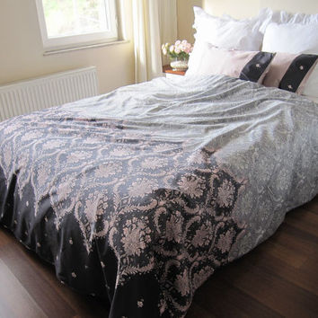 dusty Pink charcoal grey DAMASK print Full Queen KING duvet cover sets - Custom gray Bedding romantic bedroom by Nurdanceyiz