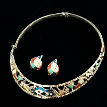 Rare Alice Caviness Egyptian Revival Necklace/Collar and Earrings Demi