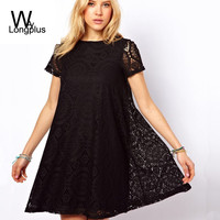2016 New Fashion Spring and Summer Ladies Dress Sexy Round Neck Embroidered Lace Femininas Dress Causal A-Line Plus Size S-4XL