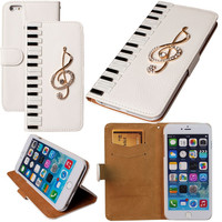 3D Piano Keys Crystal Bling Musical Note Wallet Cellphone Case