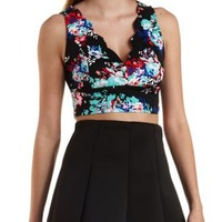 Black Combo Floral Print Scalloped Crop Top by Charlotte Russe