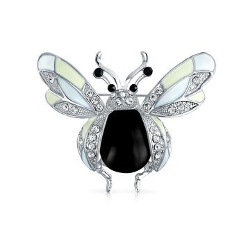 Dragonfly Insect Brooch Pin Black Enamel Crystal Silver Plated Alloy