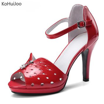 Genuine Cow Leather Spike Heels Peep Toe Buckle Strap High Quality Shoes