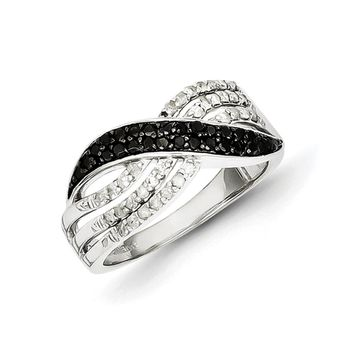 1/2 Ctw White & Black Diamond Wave Tapered Ring in Sterling Silver