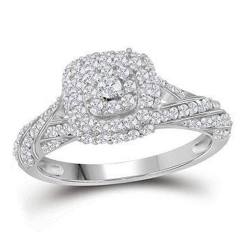 10kt White Gold Women's Round Diamond Solitaire Halo Bridal Wedding Engagement Ring 3/4 Cttw - FREE Shipping (US/CAN)