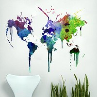 Watercolor World Map Sticker - Moon Wall Stickers