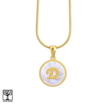 "Jewelry Kay style Women's Stainless Steel Gold D Initial Letter Medallion 16"" Chain Necklace"